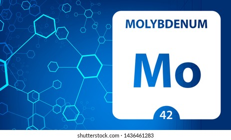 Molybdenum 42 element. Alkaline earth metals. Chemical Element of Mendeleev Periodic Table. Molybdenum in square cube creative concept. Chemical, laboratory and science background for university