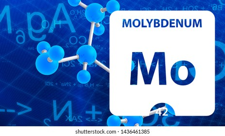 Molybdenum Mo, chemical element sign. 3D rendering isolated on white background. Molybdenum chemical 42 element for science experiments in classroom science