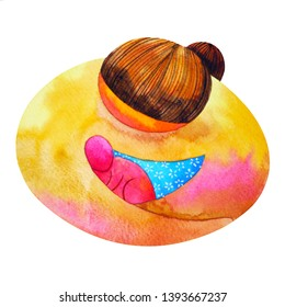 mom and baby love hug watercolor painting illustration design