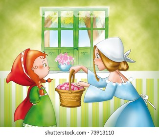 Mom is giving a small basket to Little Red Riding Hood. Digital illustration of Little Red Riding Hood tale.