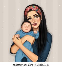 Mom Holding her Baby Boy