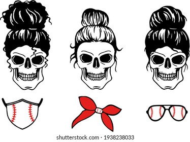 Mom skull with messy bun. Momlife Baseball. Silhouette image of a woman face with messy hair in a bun and long eyelashes.