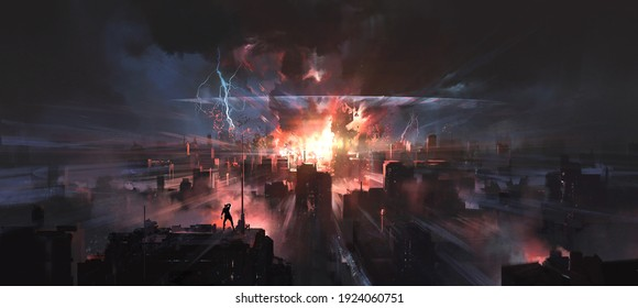 The moment the city was hit by a nuclear bomb, digital painting.
