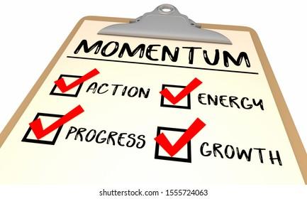 Momentum Checklist Action Progress Growth Achieve Goal 3d Illustration