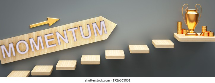 Momentum leads to money and success in business and life - symbolized by stairs and a Momentum sign pointing at golden money to show that Momentum helps becoming rich, 3d illustration