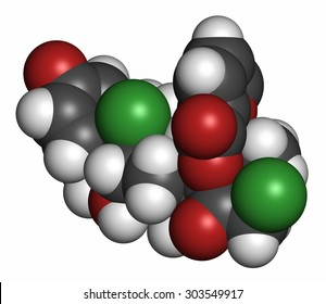 Mometasone furoate steroid drug molecule. Prodrug of mometasone. Atoms are represented as spheres with conventional color coding: hydrogen (white), carbon (grey), oxygen (red), chlorine (green).