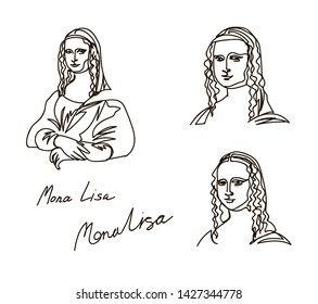 mona lisa drawing drawn in a solid line