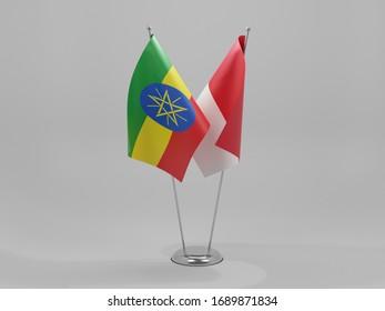 Monaco - Ethiopia Cooperation Flags, White Background - 3D Render