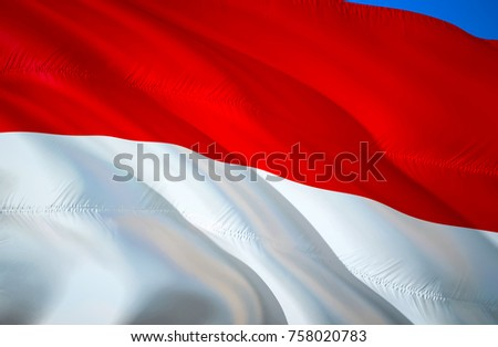 Monaco Flag Of 3D Waving Design Red And White