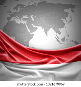 Monaco flag of silk with copyspace for your text or images and world map background -3D illustration