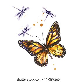 Monarch butterfly. Watercolor yellow butterfly