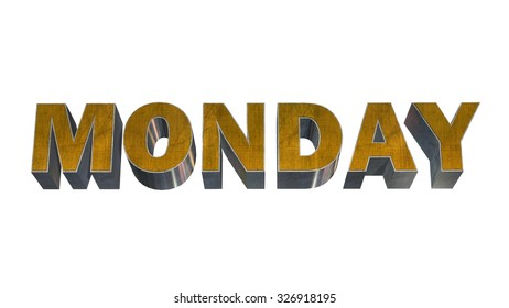 Monday - 3D  text on white background