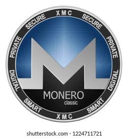 Monero Classic (XMC) coin isolated on white background; monero classic cryptocurrency