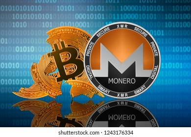 Monero coin stands in front of cracked coin bitcoin on binary code background; monero leader; bitcoin collapse