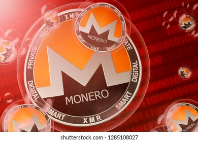 Monero crash; Monero (XMR) coins in a bubbles on the binary code background. Close-up. 3d illustration