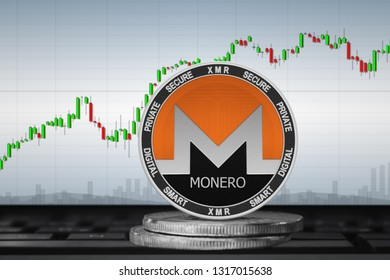 Monero; cryptocurrency coins - Monero (XMR) on the background of the chart. 3d illustration