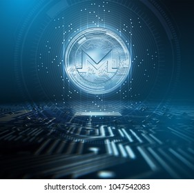 A monero cryptocurrency hologram coin form hovvering over a computer circuit board overlaid with an analytical futuristic pattern - 3D render