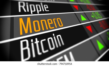 Monero cryptocurrency market. Trading on the virtual currency exchange 3D illustration.