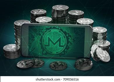 Monero symbol on-screen among piles of Monero coins. 3D rendering