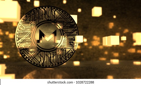 Monero (XMR) Blockchain Cryptocurrency Privacy Altcoin 3D Render. Monero XMR is an open source cryptocurrency that focuses on privacy and decentralization