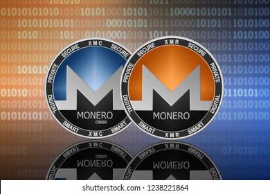 Monero (XMR) and Monero classic (XMC) coins on the binary code background