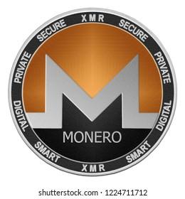 Monero (XMR) coin isolated on white background; monero cryptocurrency
