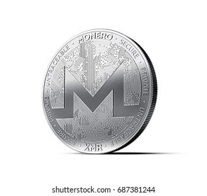 Monero (XMR) cryptocurrency physical concept coin isolated on white background. 3D rendering