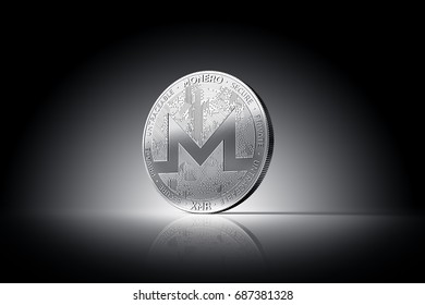Monero (XMR) cryptocurrency physical concept coin on gently lit dark background. 3D rendering