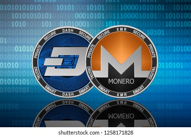 Monero (XMR) and DASH coins on the binary code background; monero vs dash