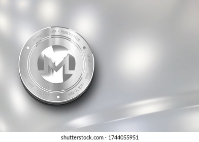 Monero (XMR) digital crypto currency. Silver coin. Cyber money.  3D Render.