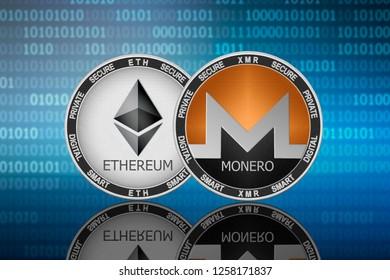 Monero (XMR) and Ethereum (ETH) coins on the binary code background; monero vs ethereum