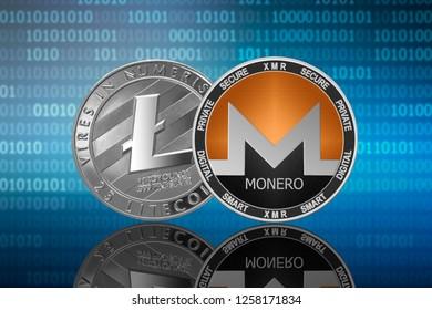 Monero (XMR) and Litecoin (LTC) coins on the binary code background; monero vs litecoin