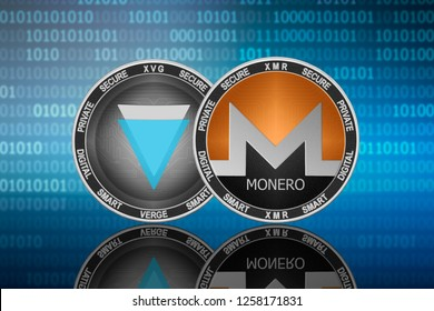 Monero (XMR) and Verge (XVG) coins on the binary code background; monero vs verge
