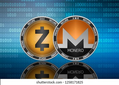 Monero (XMR) and Zcash (ZEC) coins on the binary code background; monero vs zcash
