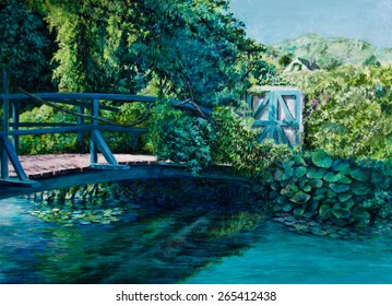 Monet's Japanese bridge at Giverny has a view towards the main house.