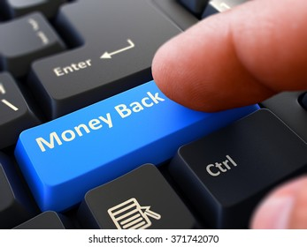 Money Back Concept. Person Click on Blue Keyboard Button. Selective Focus. Closeup View. 3d Render.