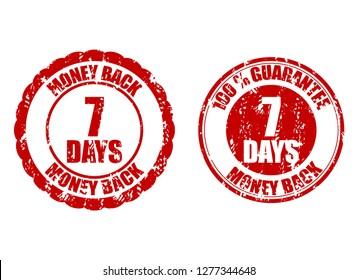 Money back guarantee 7 days. guarantee seven days risk-free, time refund warranty illustration