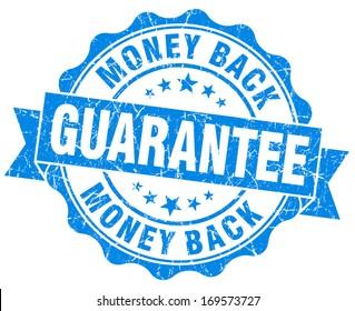 money back guarantee grunge blue stamp