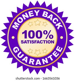 Money back guarantee product label or badge or sticker image isolated on white background