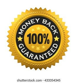 Money Back Guaranteed Label. 3D rendering