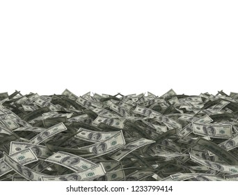 Money background dollar bills with white copy space area cut out. 3d illustration