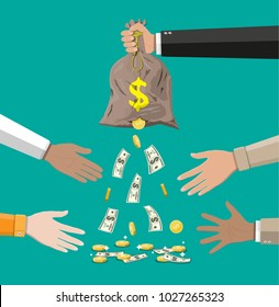 Money bag with hole in hand. Losing golden coins and dollar cash. Losing money and overspending. illustration in flat style