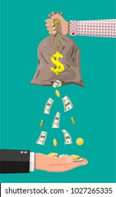 Money bag with hole in hand. Losing golden coins and dollar cash. Losing money and overspending. Business insurance and protection. illustration in flat style
