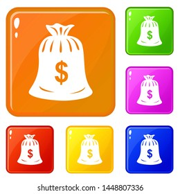Money bag icons set collection 6 color isolated on white background