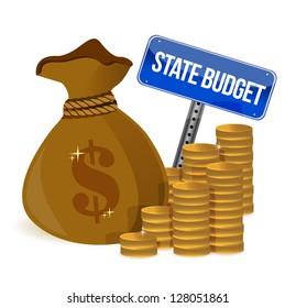 money Bag with state budget sign illustration design over white