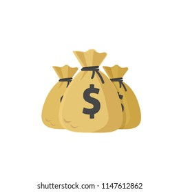 Money bags illustration, flat cartoon bags or dollar cash, idea of big grant or credit, success wealth or financial income, earnings profit isolated image