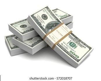 money bills 3d illustration isolated on white background