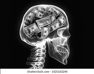 money brain isolated on black background x ray image skeleton skull. Conceptual 3d render