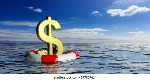 Money crisis and rescue. Lifebuoy and a golden dollar symbol on blue sea and sky background. 3d illustration