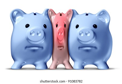 Money crunch and financial squeeze or credit crisis as a squashed and pressed pink piggy bank under pressure from bigger blue pigs as a financial icon of savings problems.